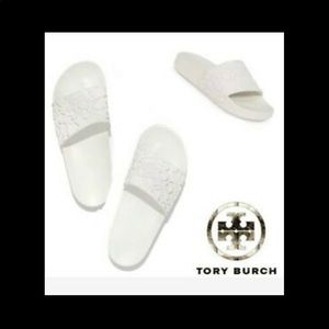 Tory Burch Emboss Logo slides sandals
